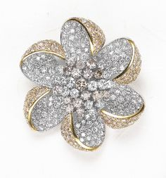 PHILLIPS : NY060109, , A Colored Diamond and Diamond Flower Brooch