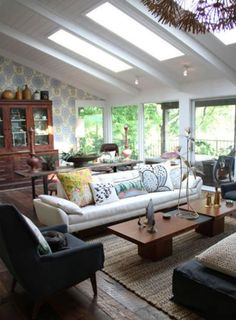 A lovely, light-filled living room. #skylights