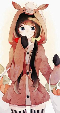 Anime black hair girl cute hood shooping ñam oink