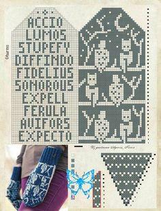Knit Mittens, Knitting Socks, Harry Potter Crochet, Knitting Machine Patterns, Fair Isle Pattern, Yarn Stash, Knitting Projects, Cross Stitch Patterns, Knit Crochet
