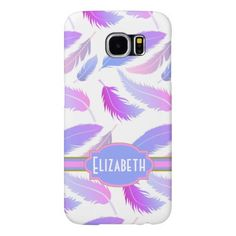Pretty Pink and Blue Falling Feathers Personalized Samsung Galaxy S6 Cases. Customize. #samsungcases