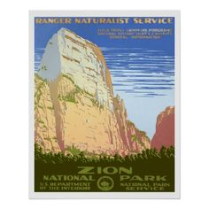 Bold graphic posters produced by the WPA (1936-43) as part of FDR's New Deal to publicize tourism. Vintage National Park posters look great on National Park T-Shirts, posters, cards, & more. This design features Zion National Park.