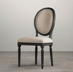 Vintage French Round Upholstered Side Chair   Fabric Arm & Side Chairs   Restoration Hardware