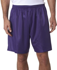 """a4 adult tricot-lined 7"""" mesh shorts - purple (m)"""