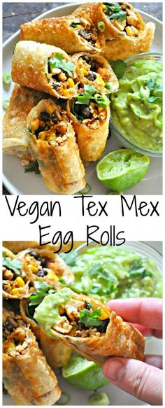 Healthy Recipes Vegan Tex Mex Egg Rolls - Rabbit and Wolves - Vegan egg rolls filled with taco tofu, black beans, corn and cilantro. With an avocado buttermilk ranch dip! Vegan Appetizers, Vegan Dinner Recipes, Mexican Food Recipes, Whole Food Recipes, Cooking Recipes, Healthy Recipes, Delicious Appetizers, Diet Recipes, Lunch Recipes