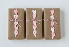 kraft paper and hearts on a string