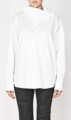 Y's By Yohji Yamamoto Shoulder Button High Neck Shirt In White