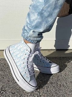 Dior x Haute Brandy Melville Jeans, Aesthetic Shoes, Aesthetic Clothes, Blue Aesthetic, Summer Aesthetic, Aesthetic Vintage, Moda Sneakers, Shoes Sneakers, Blue Sneakers
