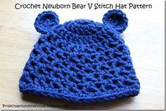 Projects Around the House: Crochet Newborn Bear V Stitch Hat Pattern