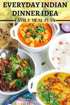 The Best Indian Dinner Recipes. A typical daily Indian family meal is very different from the selection we usually find at Indian restaurants. The family meal idea presented here consist of easy everyday recipes that take 30-40 minutes to cook. Usual everyday Indian family meal comprises of protein, vegetables & fruits, dairy and carbs. A combination of all these components make a healthy and balanced vegetarian meal for the whole family. #IndianFood #DinnerIdeas #EthnicRecipes Vegetarian Dinners, Vegetarian Recipes Easy, Indian Food Recipes, Healthy Recipes, Vegetarian Appetizers, Vegetarian Soup, Quick Recipes, Free Recipes, Family Meal Planning