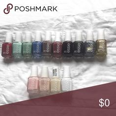 Essie nail polish Essie nail polish colors listed as follows from left to right: fishnet stockings, mint candy apple, turquoise caicos, pret-a-surfer, merino cool, angora cardi, wicked, over the edge, on a silver platter, good as gold, Fiji, mademoiselle, limo-scene, marshmallow. **Free if bundled (when buying two or more items)** essie Other