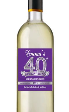 40th Birthday Wine Labels  Personalized by AnnounceItFavors