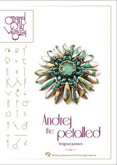 Pendant tutorial / pattern Andrej with superduo and petals beads..PDF instruction for personal use only