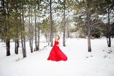 5 Tips to Getting Real, Beautiful Photos. woman in a red dress in the snow by Michelle Gifford of Beauty Revived
