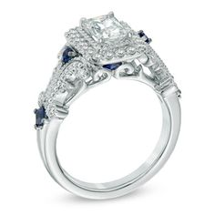 Vera Wang LOVE Collection 1-1/8 CT. T.W. Emerald-Cut Diamond and Blue Sapphire Scroll Ring in 14K White Gold - View All Rings - Zales