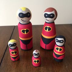 The Incredibles peg doll set by ClarasCreations2011 on Etsy, $32.00