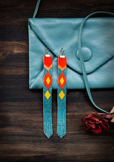 Long Leather Earrings bright tribal by AbraKadabraJewelry on Etsy