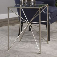 Spectacular end table is modern love in silver, Silvano End Table