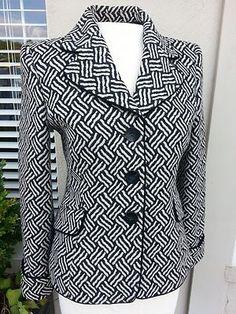 Women's Armani Collezioni Blazer Sz 2 Khaki Black Geometric Print $375