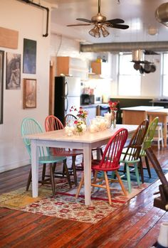 Multi-colored chairs, really love these!!