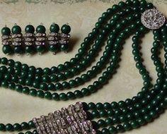 Art Deco 1930's Glass Multi Strand Necklace