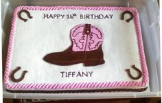 Boot Cake - This cake is from an ACTUAL picture sent to me of the birthday girl's boot.  The cake is a confetti cake iced in buttercream.  The boot and horseshoes are made from homemade MMF.TYL