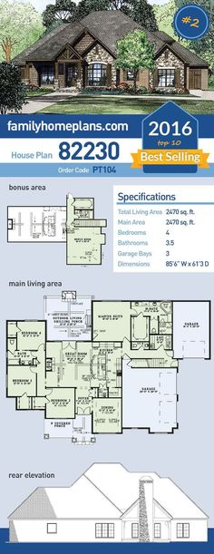 Cool house plan id chp 49911 total living area 3766 sq for Best selling floor plans