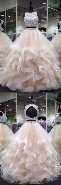 Sale Light Sequin Prom Dresses Champagne Two Pieces Sequin Tulle Long Prom Dress, Champagne Evening Dress Prom Dresses Two Piece, Cute Prom Dresses, Wedding Dresses, Dress Prom, Pretty Dresses For Teens, Dresses For Sweet 16, Two Piece Quinceanera Dresses, One Piece Dress Long, Party Dresses