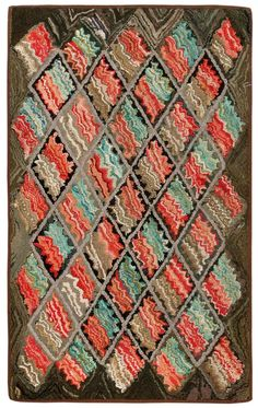 Antique Hooked American (love the coral-mint colour scheme and the wavy hit-and-miss to fill in a geometric pattern)