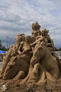 One of my favorite events of the year, Cleveland Oktoberfest! And since Wagner was to be played by the Cleveland Pops Orchestra, the Ride of the Valkyrie was definitely in order. sand sculpture by Carl Jara Snow Sculptures, Sculpture Art, Metal Sculptures, Abstract Sculpture, Bronze Sculpture, Ephemeral Art, Snow Art, Scary Art, True Art