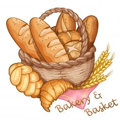 Bakery And Basket Hand Draw, Vector Illustration Discover thousands of Premium vectors available in AI and EPS formats Cute Food Art, Cute Art, Food Illustrations, Illustration Art, Etiquette Vintage, Food Sketch, Watercolor Food, Food Painting, Food Drawing
