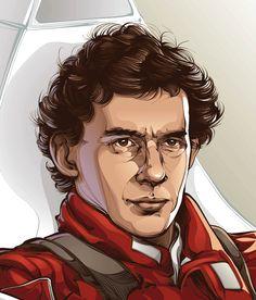 CRIS VECTOR:  Portrait of Ayrton Senna: The legendary brazilian F-1 driver / Vector Illustration / Client: ESPN Magazine - Spring Editora.