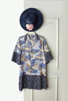 Oversize Hawaiian top Kimono inspired Upcycled clothing