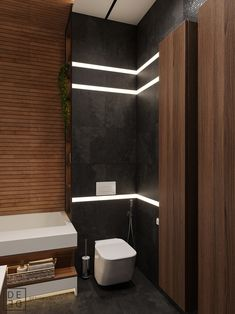 Get onboard with the wood slat wall trend with this luxurious home interior; featuring wood slat dividing walls, wall panel design and wood ceiling ideas. 3d Interior Design, Luxury Homes Interior, Bathroom Interior Design, Luxury Apartments, Interior Ideas, Wood Slat Wall, Wood Slats, Bathroom Design Inspiration, Modern Bathroom Design