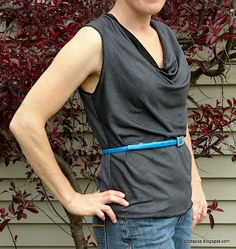 PoldaPop Designs: Free Sewing Tutorial: Draft a deep cowl neck top from your favorite knit top pattern