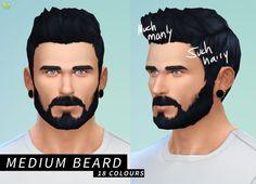 LumiaLover Sims - Medium Beard + Darker Jaw Stubble (18 colours) ...