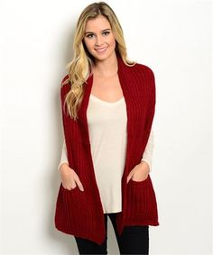 Burgundy Wide Scarf with Pockets