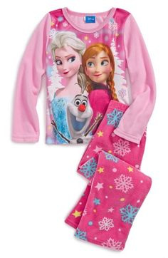 DISNEY 'Frozen' Microfleece Two-Piece Fitted Pajamas (Little Girls & Big Girls) available at #Nordstrom