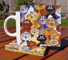 Singing Cat Coasters: set of 6. Beyond cute!!