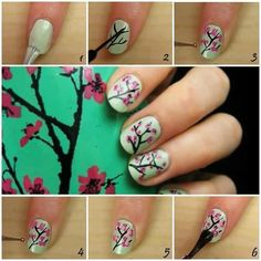 Nail Art / Flower nails how-to Sexy Nail Art, Sexy Nails, Cute Nail Art, Fun Nails, Pretty Nails, Green Tea Nails, Cherry Blossom Nails, Cherry Blossoms, Pink Blossom