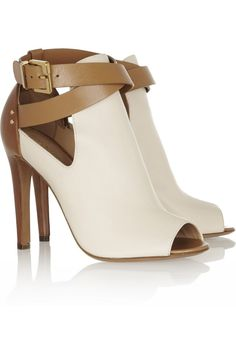 Sergio Rossi|Peep-toe leather ankle boots|NET-A-PORTER.COM