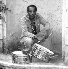 Willie Bobo photographed with timbales in San Francisco