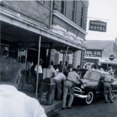 Old Nakatosh Hotel located on Front Street, car accident c.1940-50s? - Natchitoches
