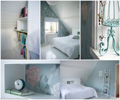 sovrum med snedtak, sänghylla och garderob