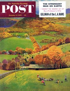 """""""Football in the Country"""" by John Clymer. Issue: October 8, 1955. © SEPS"""