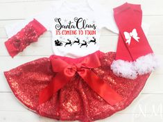 Baby Christmas Outfit My First Christmas Baby by NylaMarieKids