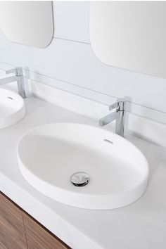 Ozera Semi-Inset Basin | Architectural Designer Products  Matte White bathroom sink Gloss White bathroom sink Small Bathroom Sinks, Basin Sink Bathroom, White Bathroom, Bathrooms, Inset Basin, Basins, Neutral Palette, Modern Country, Small Spaces