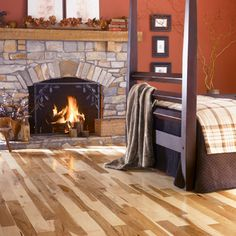 Hickory Solid Hardwood Flooring x sq.ft/ctn) at Menards Prefinished Hardwood, Hardwood Floors, Affordable Carpet, Hickory Flooring, Flooring Companies, Flooring Store, Fireplace Design, Bedrooms, Paint