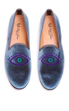 Prince Albert Grey Velvet  Slipper Loafers With Evil Eye Embroidery