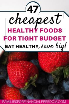 Learn 47 of the cheapest healthy foods that you can buy! Save money on groceries while still eating healthy! Eat cheap, healthy foods on a budget. Ideas for cheap and healthy foods. Cheap and healthy foods for college. Easy cheap and healthy foods ideas! Healthy Foods To Eat, Healthy Snacks, Eating Healthy, Healthy Recipes, Cheap Healthy Food, Budget Freezer Meals, Frugal Meals, Easy Meals, Money Saving Meals